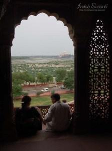 Enjoying the Taj Mahal view
