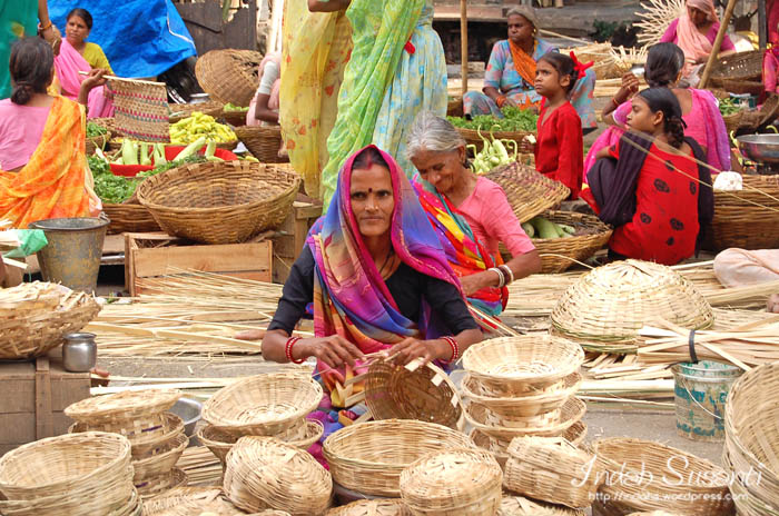 Indian woman at vegetable market