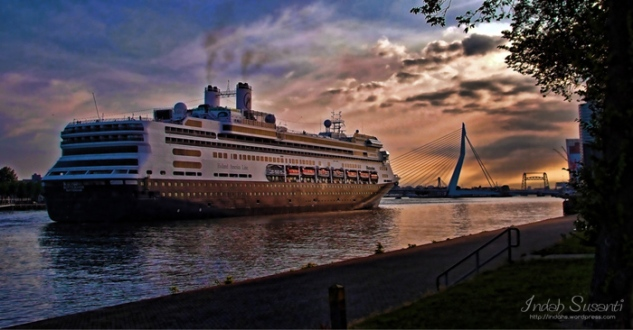 Erasmus Bridge and Cruise Ship in the Morning