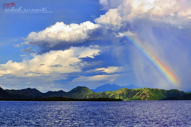 Ocean, Rainbow, Mountains