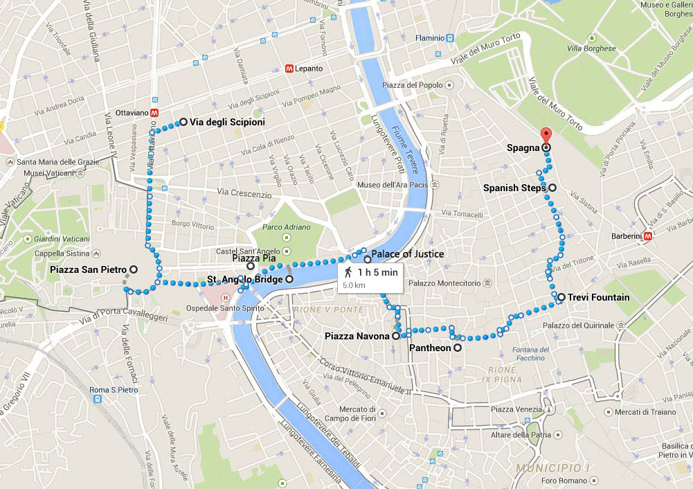 Rome Night Walk Route