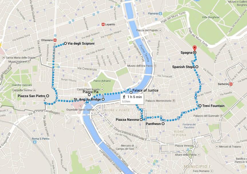 Rome Night Walk Route