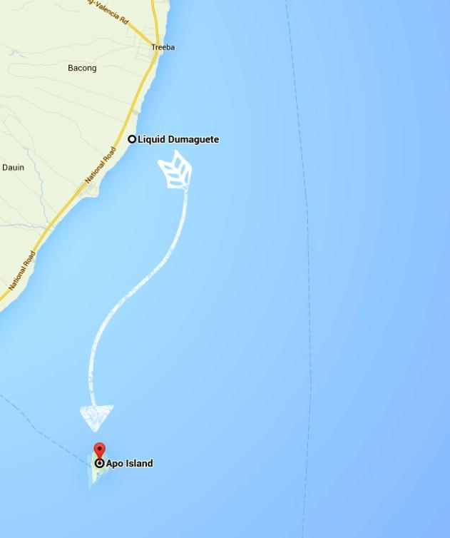 Map Dumaguete to Apo Island