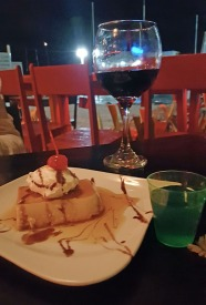 Flan dessert with Blue Hole shot