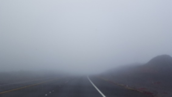 Saddle Road in foggy day