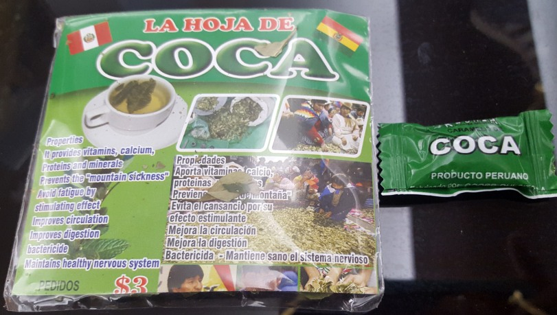 Coca leaves and candies from Peru are available in Ecuador