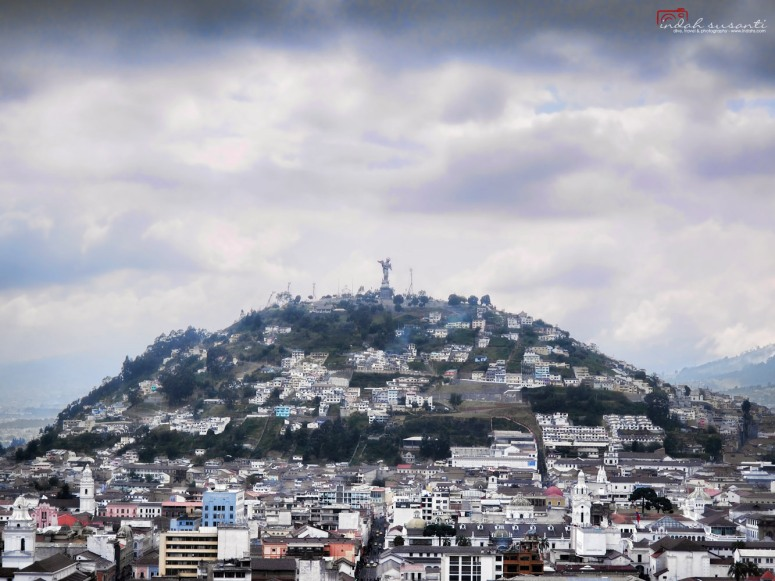 Quito's Madonna on the top of Panecillo Hill - view from the Basilica